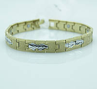 Магнитные браслеты из стали под золото. Матовые браслеты для мужчин. 110