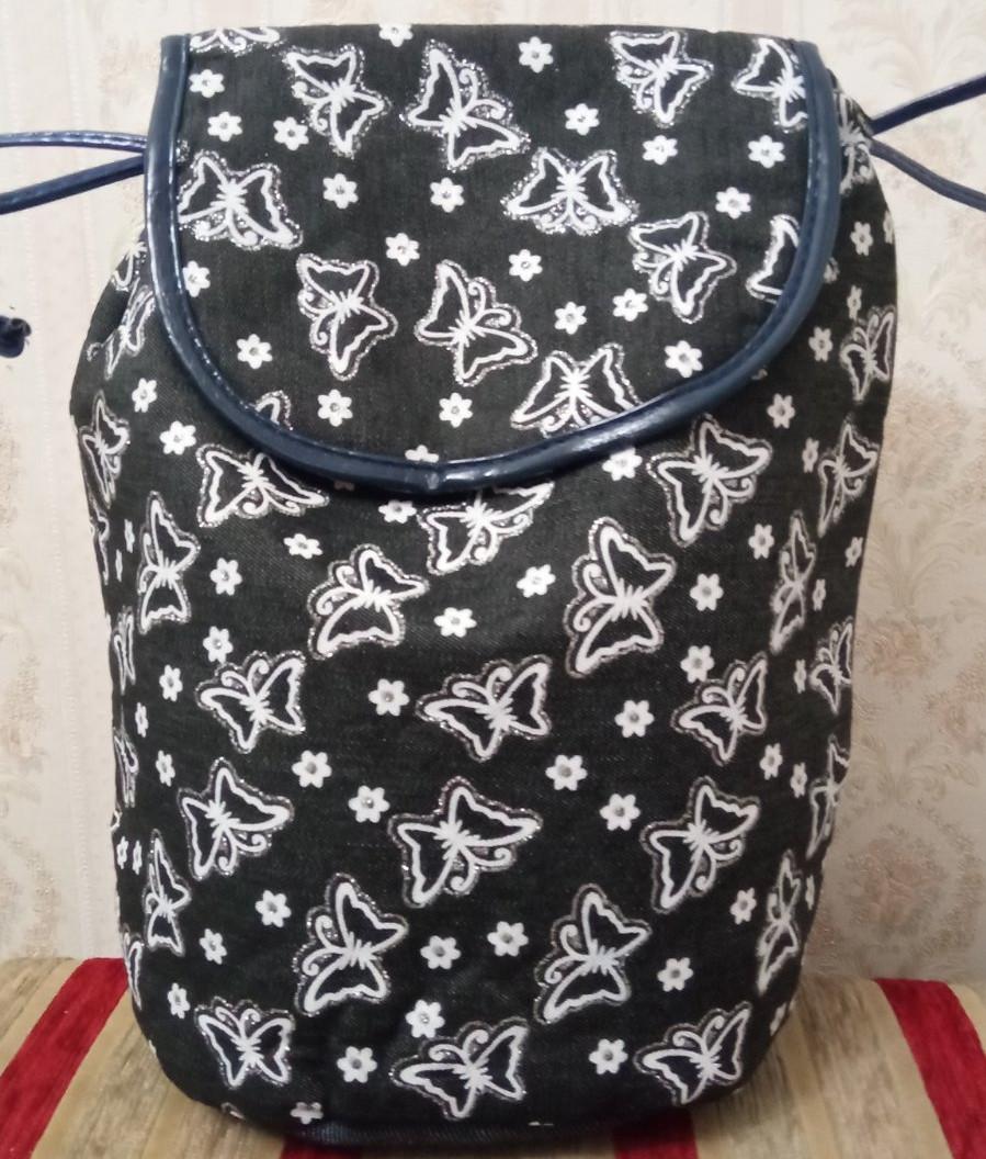 Дитячий рюкзак-мішок з білими принтами