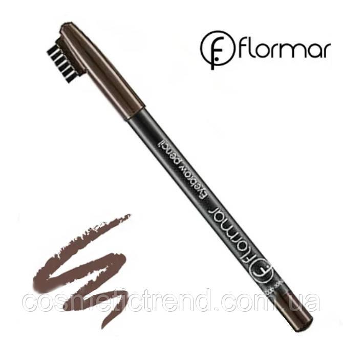 Карандаш для бровей водостойкий со щеточкой Flormar Eyebrow Pencil №402 Brown