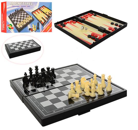 Шашки, шахи, нарди 3 в 1, в коробці 1818