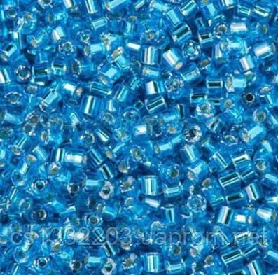 Бісер №10  (5г) рубка прозорий блискучий, блакитний насичений