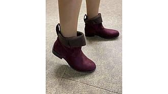 Женские ботинки ковбойки замшевые с отворотом бордовые на низком 36-41