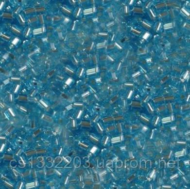 Бісер №10  (5г) рубка прозорий блискучий, блакитний світлий