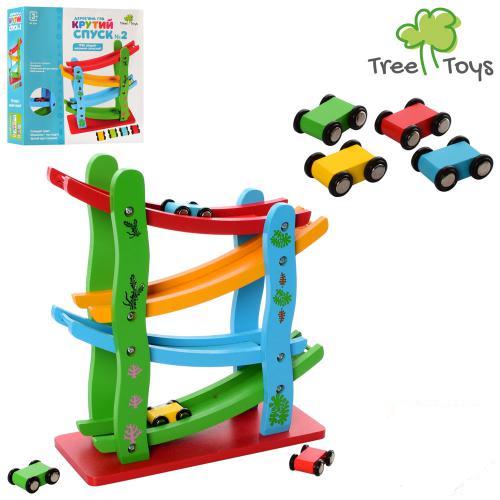 Дерев'яна іграшка для малюків Трек MD 2688, висота 28 см, 4 машинки