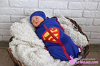 Евро пеленка кокон на молнии Half+ шапочка, Супермен, 0-3 мес, фото 1