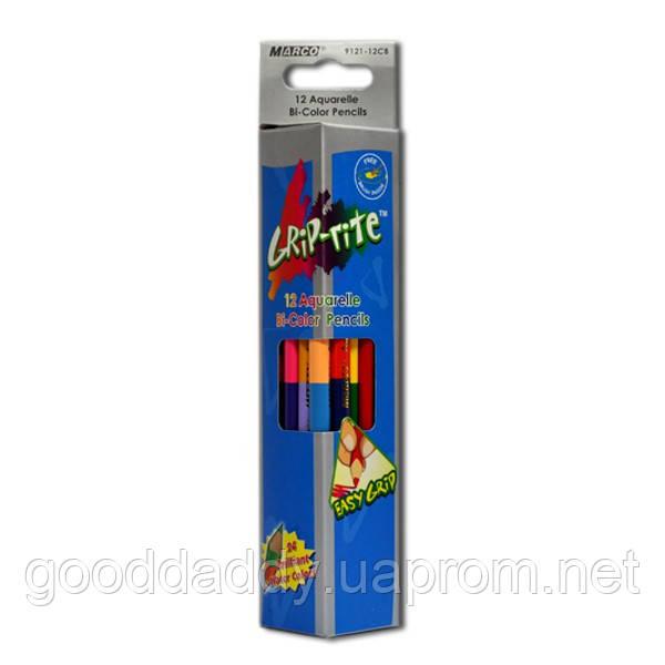 """Акварельные карандаши двухсторонние 12 шт. 24 цвета Marco """"Grip-Rite"""" 9121-12"""