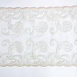 Ажурное кружево вышивка на сетке, бежевая вышивка на бежевой сетке, ширина 27 см, фото 7