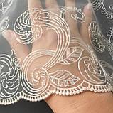 Ажурное кружево вышивка на сетке, бежевая вышивка на бежевой сетке, ширина 27 см, фото 8