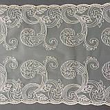 Ажурное кружево вышивка на сетке, бежевая вышивка на бежевой сетке, ширина 27 см, фото 4