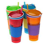 Стакан пить + есть 2 в 1 красный (Snack and drink cup)