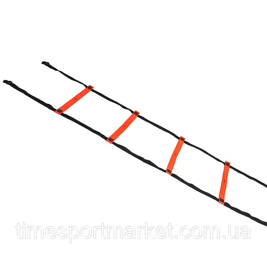 Координаційна сходи SELECT Agillity ladder - indoor (216), оранж/черн (14 ступенів, 6 м)