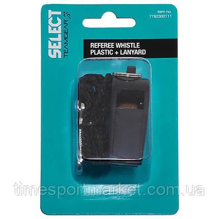 Свисток арбитра пластиковый с шнурком SELECT (001), черный,L, фото 2