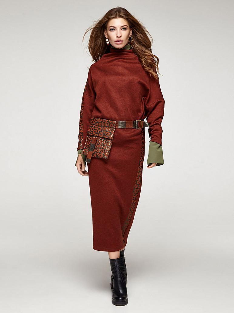 Женское платье ангоровое с поясной сумочкой теракот Феррано Solh MKSH2355