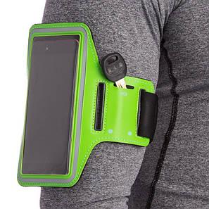 Спортивный чехол на руку для бега, фитнеса для телефона диагональю до 6,8″ белый Салатовый, фото 2
