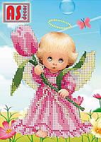 """Схема для вышивки бисером """"Ангелочек с тюльпаном"""" 13,5*18,5"""