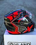 Шлем закрытый VLAND М61 ЧЕРНЫЙ глянец с серо-красным рисунком (XS, S, M, L), фото 5