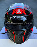 Шлем закрытый VLAND М61 ЧЕРНЫЙ глянец с серо-красным рисунком (XS, S, M, L), фото 2