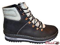 Ботинки мужские зимние Comfort нубук на меху черные, серые Uk0160