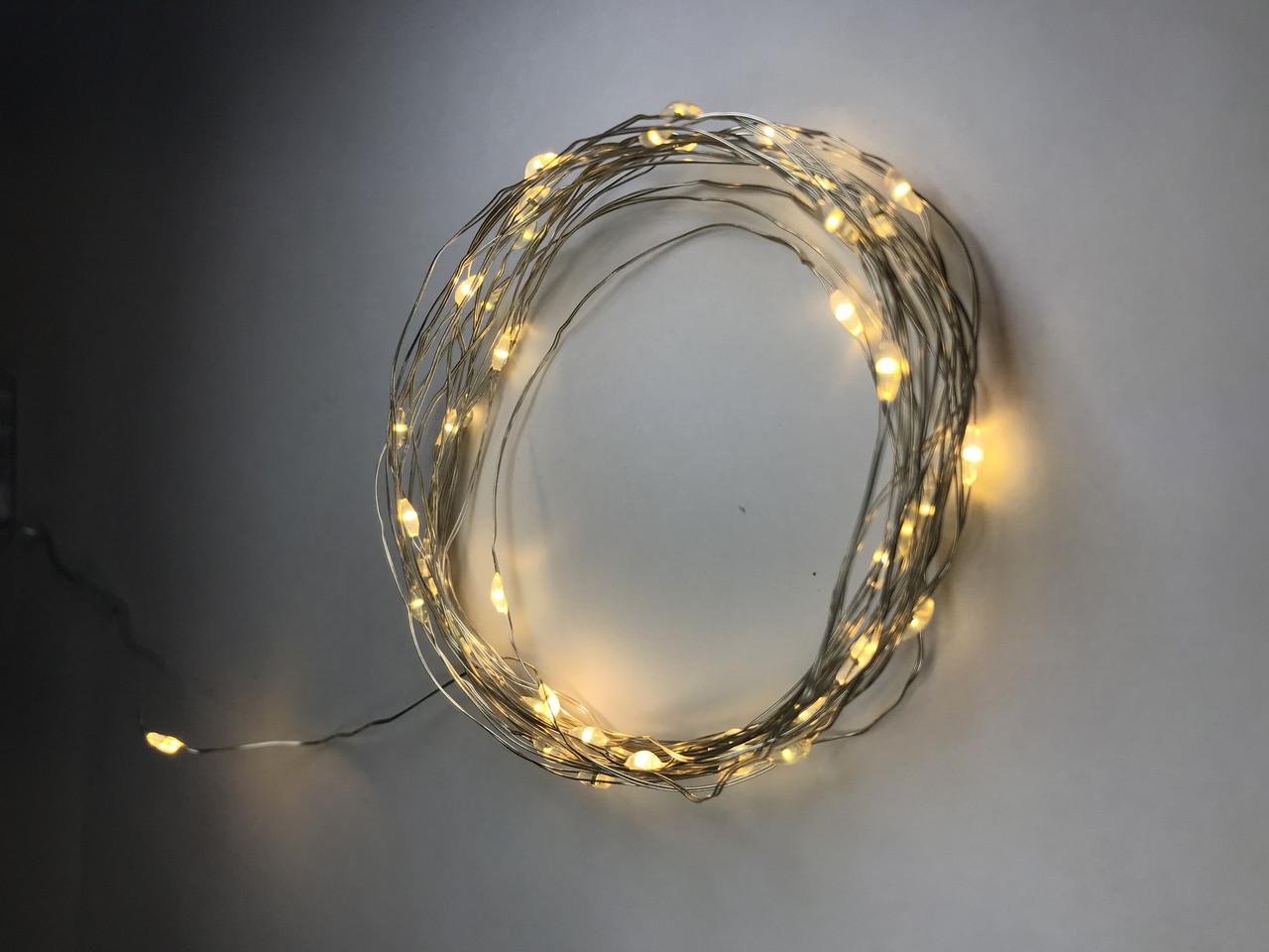 Гірлянда нитка світлодіодна на батарейках холодна біла 50 LED 5м