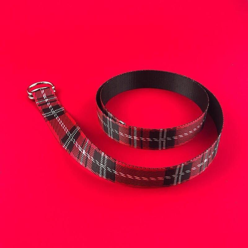 Ремінь текстильний SOX в шотландську клітку червоно-чорний