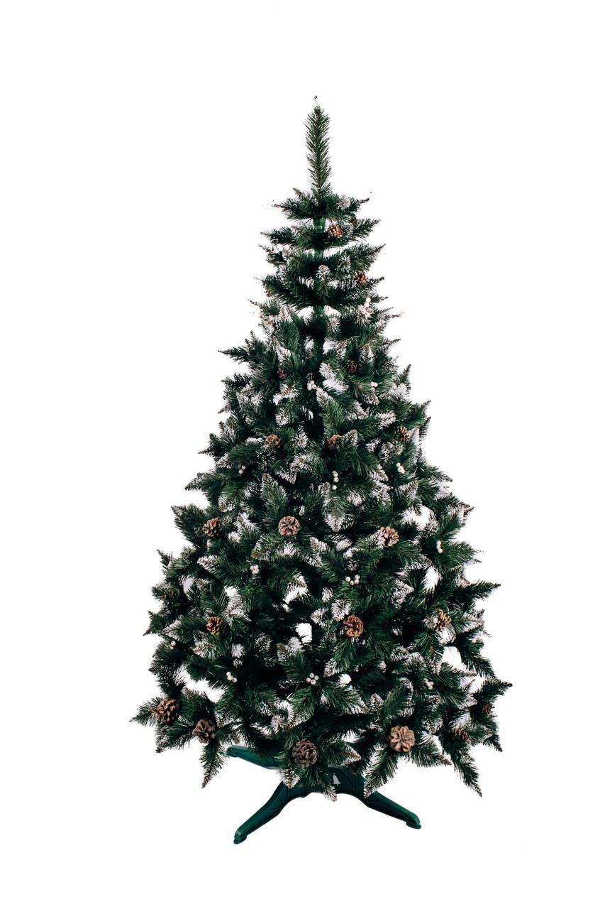 Ялинка штучна Різдвяна з шишкою і калиною срібна 2,2 м