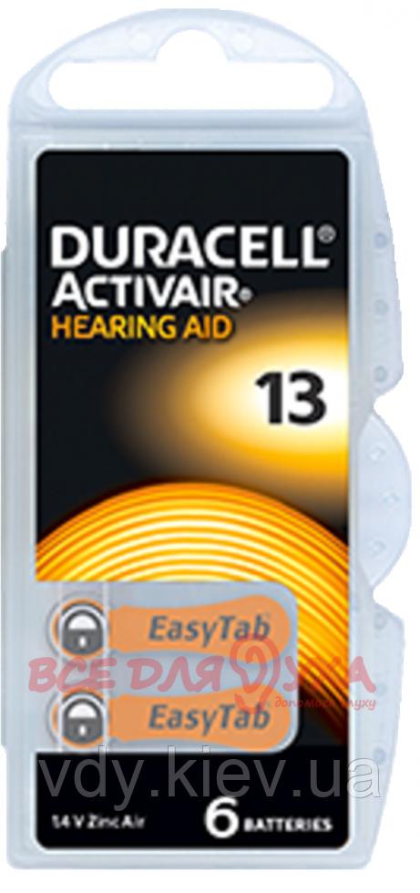Батарейки для слуховых аппаратов Duracell Activair Box 13 MF, 6 шт.