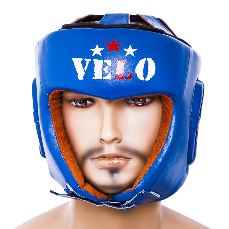 Боксерский шлем кожаный Velo AIBA M синий (VLS-1001MB)
