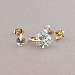 Сережки+Кулон ювелирная бижутерия XUPING  Фіаніт (позолота 18к)