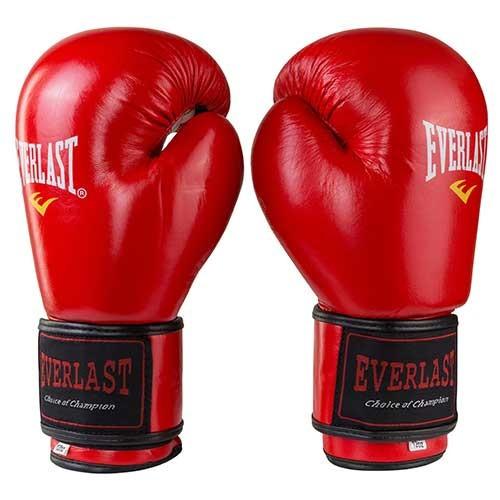 Боксерські рукавички шкіряні червоні 8oz Everlast 3Strap