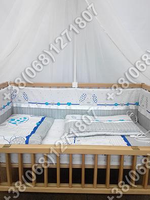 Детское постельное белье в кроватку, постельный комплект (зоопарк синий), фото 2