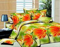 Двуспальный комплект постельного белья Оранжевая Гербера