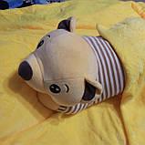 Плед іграшка подушка 3в1 Собачка | Іграшка дитячий плед | Іграшки-Подушки | М'яка іграшка Хаскі Помаранчевий, фото 9