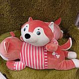 Плед іграшка подушка 3в1 Собачка | Іграшка дитячий плед | Іграшки-Подушки | М'яка іграшка Хаскі Помаранчевий, фото 3