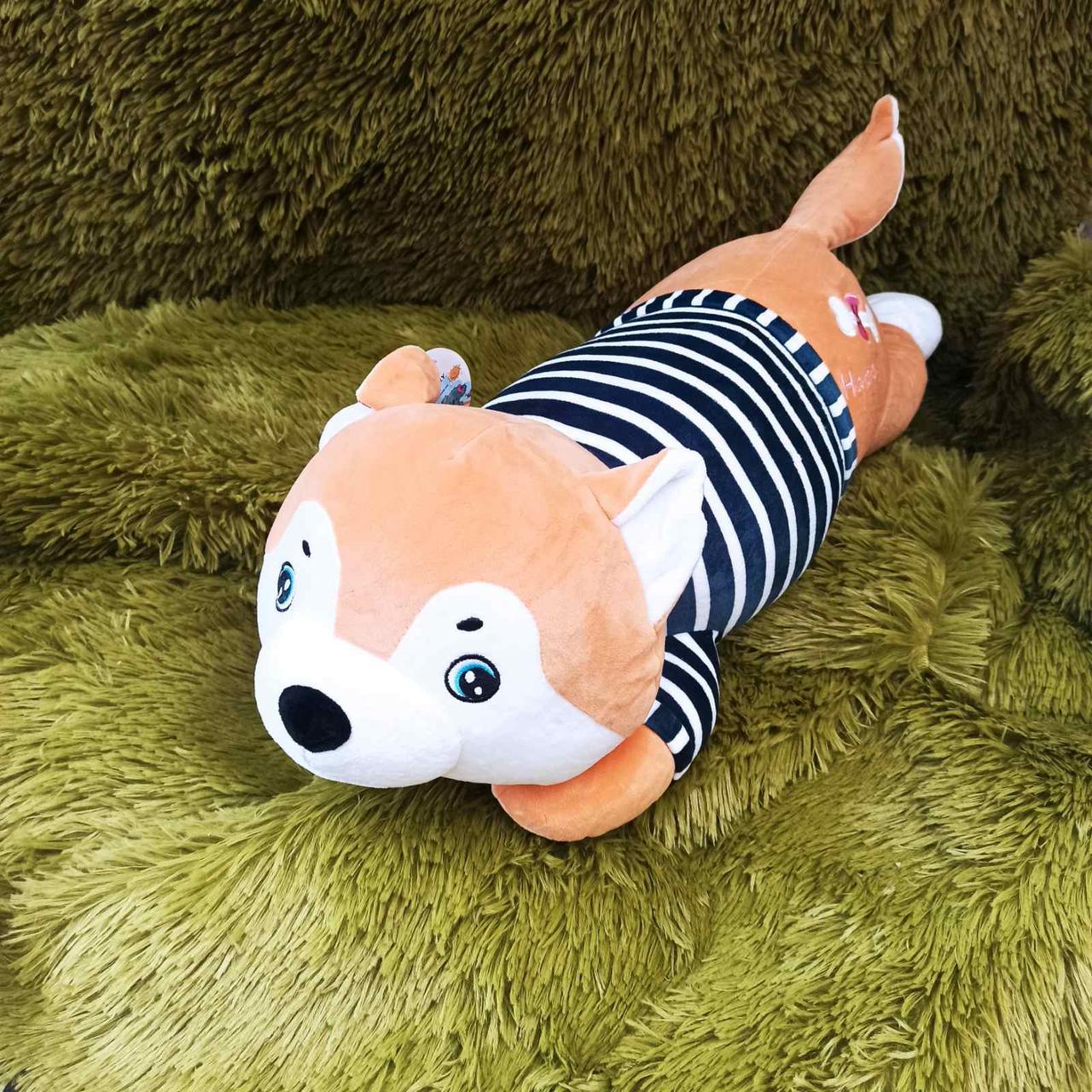 Плед іграшка подушка 3в1 Собачка | Іграшка дитячий плед | Іграшки-Подушки | М'яка іграшка Хаскі Помаранчевий