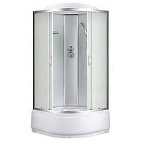 8890D, гидробокс Sansa, 90 х 90 см, рама сатин, стекло матовое, заднее стекло белое