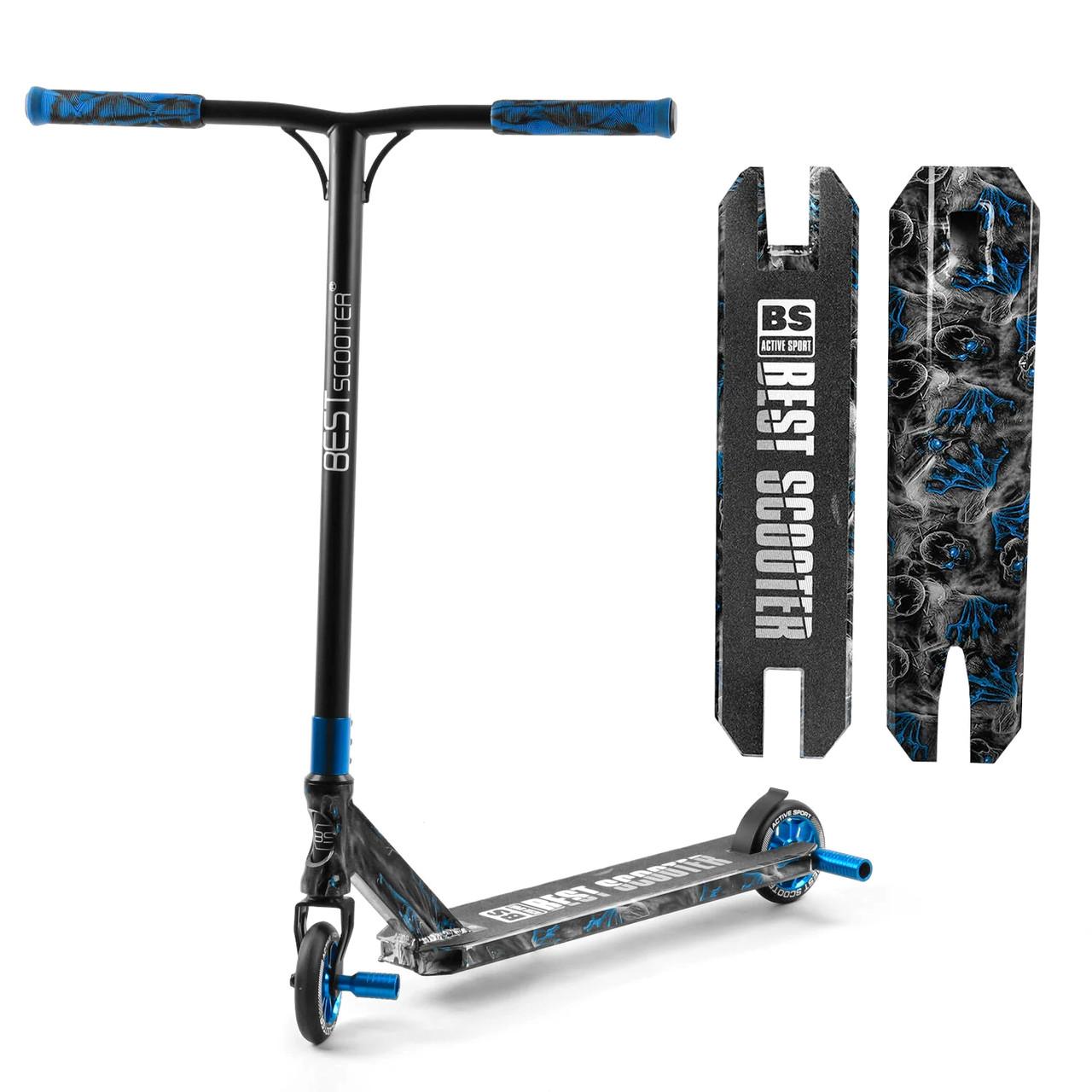 Детский трюковый самокат (пеги, алюминий, колеса PU 110 мм) Best Scooter BS-77566 Черный с синим