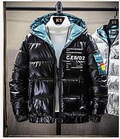Мужская подростковая зимняя куртка, чёрные, размер 44-48, фото 1