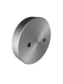 ODF-06-35-01 Коннектор круглый прижимной с двумя отверстиями с лица d50 M12, для стеклянного ограждения, сатин