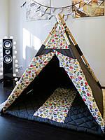 Детская палатка вигвам - Совы, brown