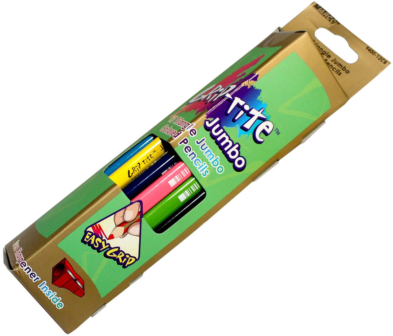 Карандаши цветные Marco Grip-rite Jumbo (12 цветов) + точилка в подарок