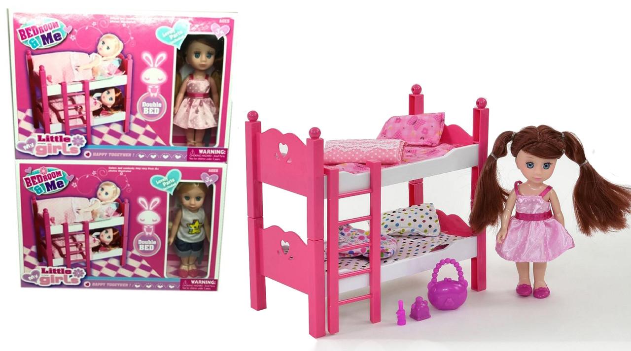 Кукла пупсик маленькая с мебелью двумя кроватями и аксессуарами