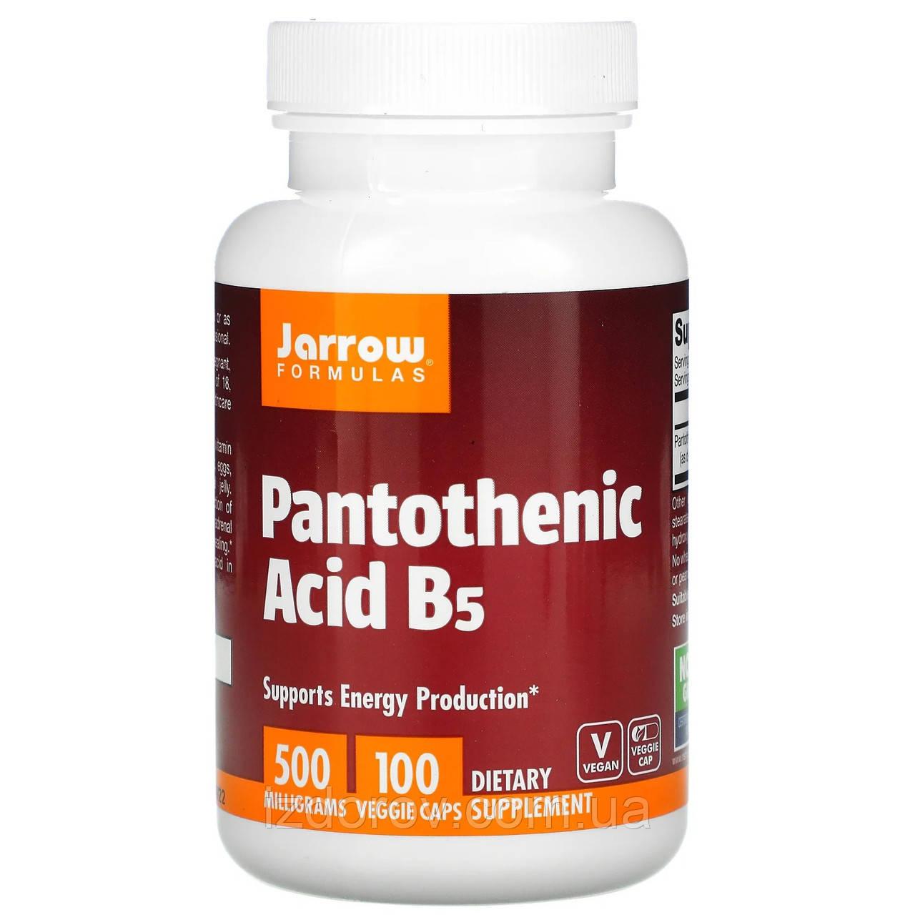 Jarrow Formulas, Пантотенова кислота (вітамін B5), 500 мг, Pantothenic Acid, 100 капсул вегетаріанських
