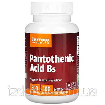 Jarrow Formulas, Пантотеновая кислота (витамин B5), 500 мг,  Pantothenic Acid, 100 вегетарианских капсул
