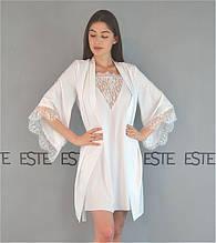 Комплект на утро невесты Este белый халат и ночная сорочка с кружевами.