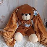 Плед іграшка подушка 3в1 Мишко | Іграшка дитячий плед | Іграшки-Подушки | М'яка іграшка Ведмедик Рожевого кольору, фото 4