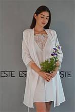 Белый комплект двойка халат и пеньюар Este для утра невесты.