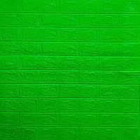 Декоративная 3D панель самоклейка под кирпич Зеленый 700x770x3мм, фото 1