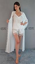Шелковый комплект на утро невесты Este Длинный халат майка шорты с кружевами 809-501 белый.