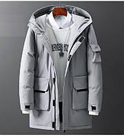 Чоловіча зимова куртка парку пуховик, дуже тепла, сіра. РОЗМІРИ 44-52, фото 1
