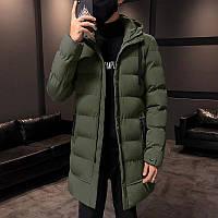 Мужская зимняя куртка парка пуховик, очень тёплая, хаки. РАЗМЕРЫ 44-52, фото 1